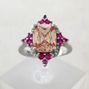 Sterling Morganite and Tourmaline Ring